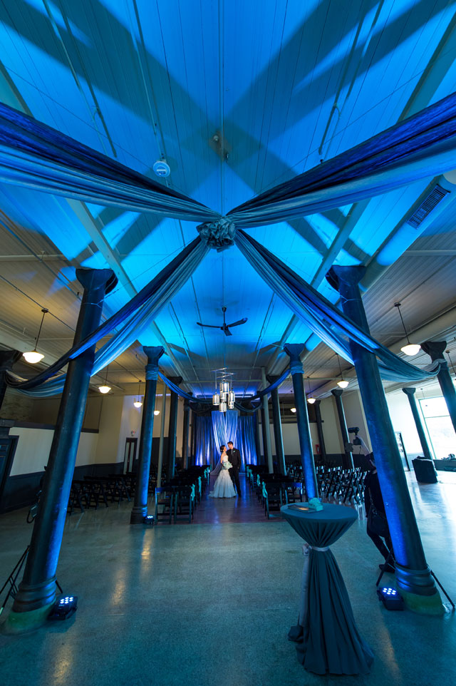 A unique and modern blue wedding at the Historic Pritzlaff in Milwaukee   Front Room