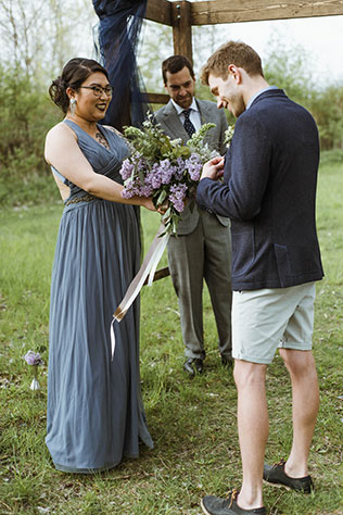 An intimate forest pop-up wedding in Toronto with a cool neutral palette and lilacs by Gaetz Photography