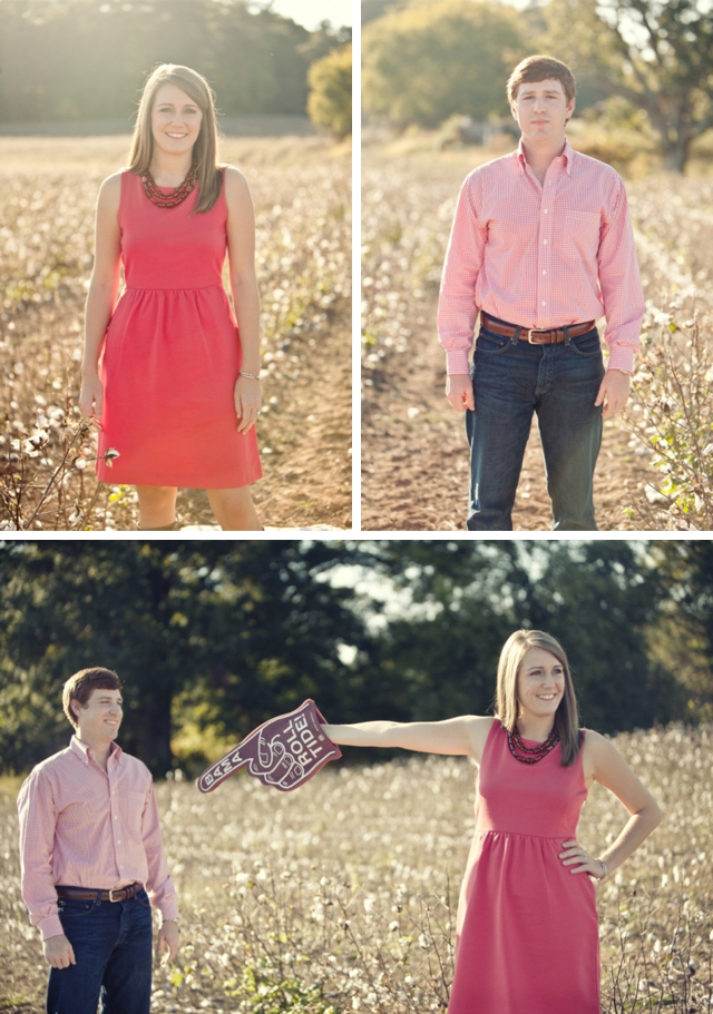 An Alabama engagement shoot in the middle of a cotton field by Glass Jar Photography || see more on blog.nearlynewlywed.com