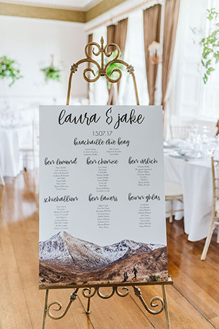 A modern and trendy lush green Scottish castle wedding in the highlands with rose gold, copper, marble and succulents by Glitter & Twigs