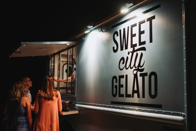 A fabulous foodie wedding for a chef in Florida with a gelato truck and gorgeous floral arrangements featuring fresh produce by Grind & Press Photography
