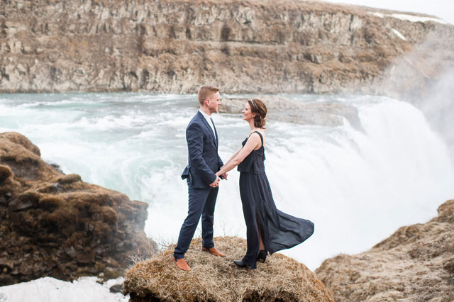 A styled engagement session in Iceland at the stunning waterfall Gullfoss by Hannah Leigh Photography