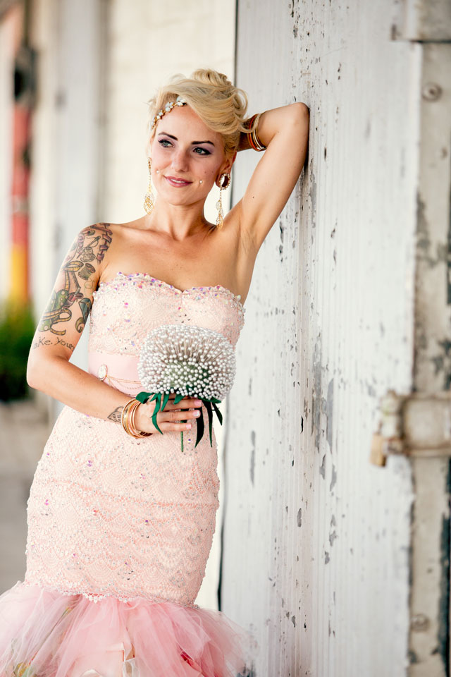A funky bohemian wedding with incredible DIY details and a pink bejeweled gown for the bride // photos by Hartman Outdoor Photography: http://www.hartmanoutdoorphotography.com    see more on https://blog.nearlynewlywed.com