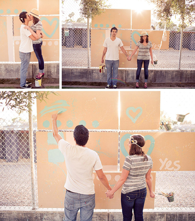 Artsy painting engagement session by Hello Studios || see more on blog.nearlynewlywed.com