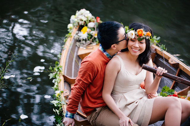 A springtime, floral-filled engagement session in New South Wales with a picnic and rowboat | Hilary Cam Photography Sydney: http://www.hilarycam.com.au