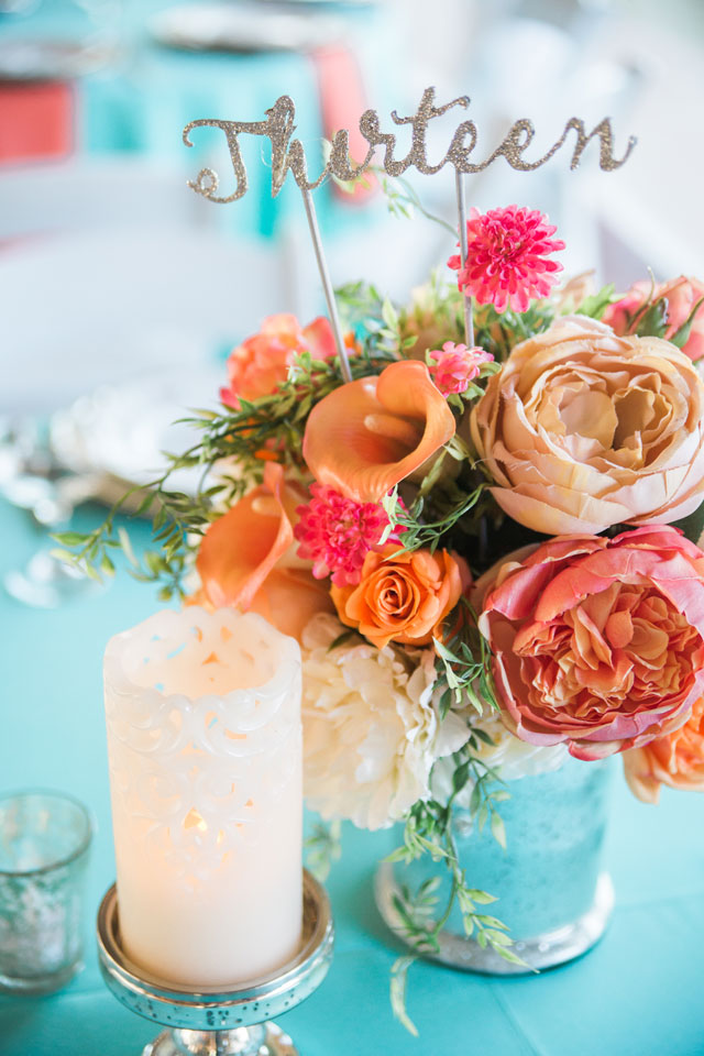 A rustic Florida ranch wedding with a coral and Tiffany blue palette and tons of chalkboard details by Jillian Joseph Photography