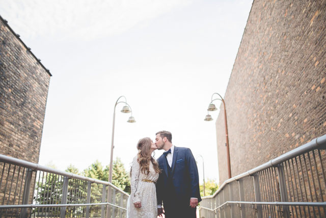 An intimate destination Great Lakes wedding with vintage details and subtle greenery by Joe & Jen Photography