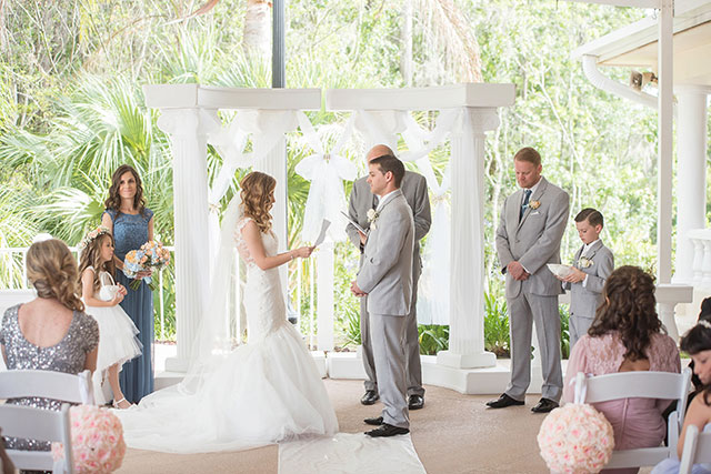 A dreamy and classic peach, gold and dusty blue wedding in Tarpon Springs by #24KVendor Kristen Marie Photography