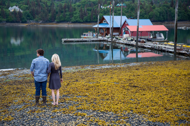 An outdoor engagement session against the Alaskan landscape of Halibut Cove | Kristin Cooley Photography: http://kristincooley.com
