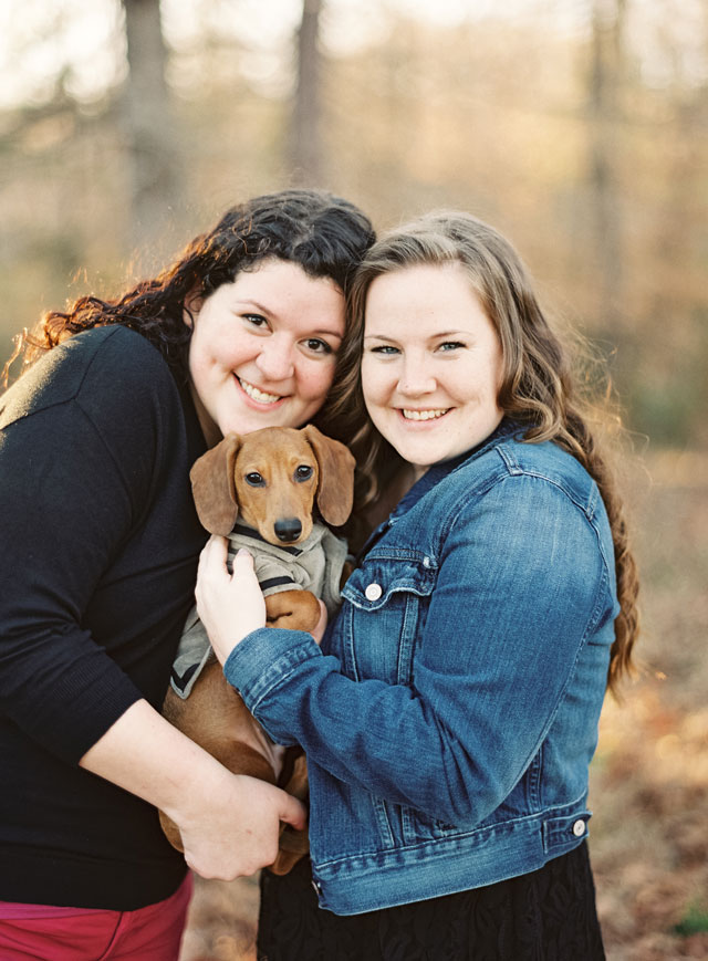 A same-sex Valentine's Day engagement shoot with the couple's dachshund   Laura Gordon Photography: http://www.lauragordonphotography.com