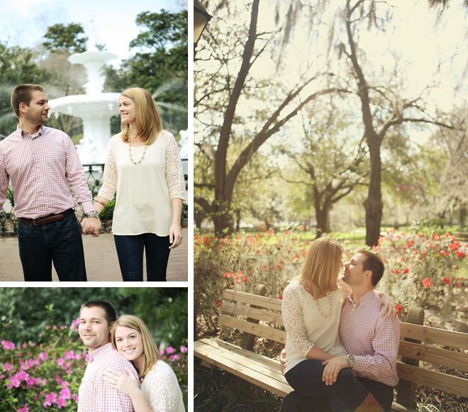 Downtown Savannah Engagement by LeeAnn Ritch Photography on ArtfullyWed.com
