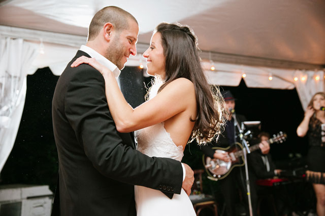 A combination city hall and backyard wedding with an elegant tented reception by Levi Stolove Photography