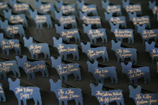 A preppy navy blue wedding in Montauk with the couple's French bulldog by Levi Stolove Photography