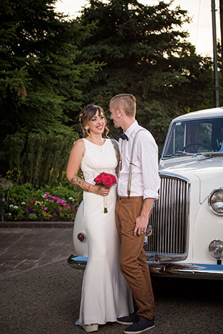 A Heritage Gardens first look with a vintage white Austin Princess | Lindsey Black Photography: http://lindseyblackphoto.com