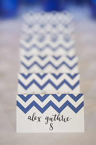 An elegant wedding at La Caille with cobalt blue, white and gray chevron details   Logan Walker Photography: http://www.loganwalkerphoto.com