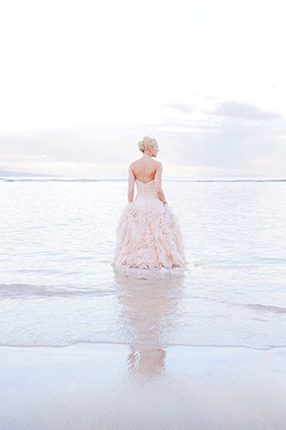 A stunning sunrise trash the dress shoot on Maui with a Rose Quartz dress by Love and Water Photography
