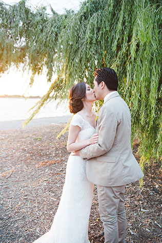 A cheerful and charming yellow DIY wedding in California with a brooch bouquet and sweets by Love in Photographs
