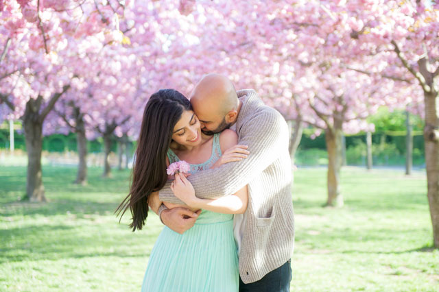 A dreamy spring cherry blossom engagement session at the Brooklyn Botanical Garden // photo by Mikkel Paige Photography: http://mikkelpaige.com/ || see more on https://blog.nearlynewlywed.com