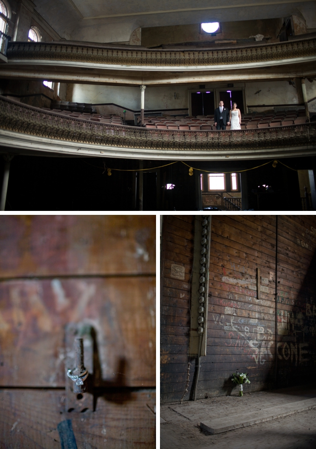 A hauntingly beautiful day-after meets trash-the-dress session at a defunct opera house by Maler Photography || see more on blog.nearlynewlywed.com