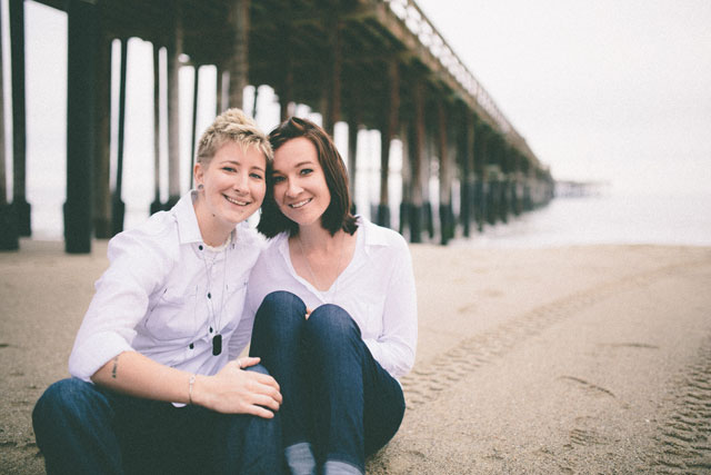 An engagement session on a misty day at the Ventura Pier // photos by Open Iris Photography: http://www.openirisphoto.com || see more on https://blog.nearlynewlywed.com