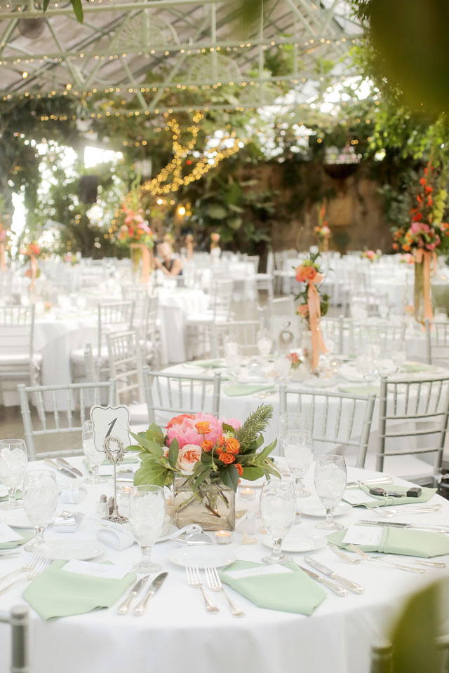 A coral and celadon summer wedding at the greenhouse at La Caille   Pepper Nix Photography: peppernix.com