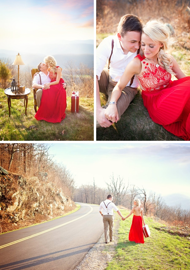 A lightly styled spring engagement in the Blue Ridge Mountains by Photography by Anna Clark || see more on blog.nearlynewlywed.com