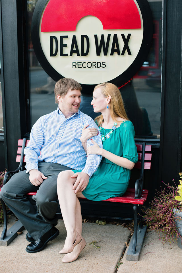 A couple's record store and coffee shop engagement session // photo by Photography by Betty Elaine: http://bettyelainephotography.com    see more on https://blog.nearlynewlywed.com