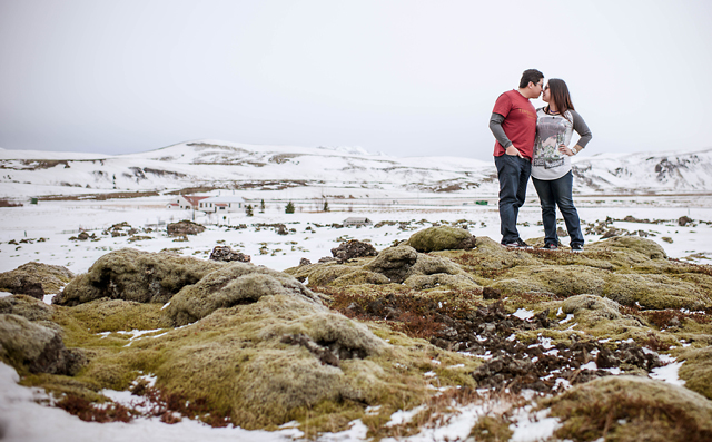 A couple from Singapore ventures to Iceland for a winter e-shoot against the snowy landscape by Photos by Miss Ann || see more on blog.nearlynewlywed.com