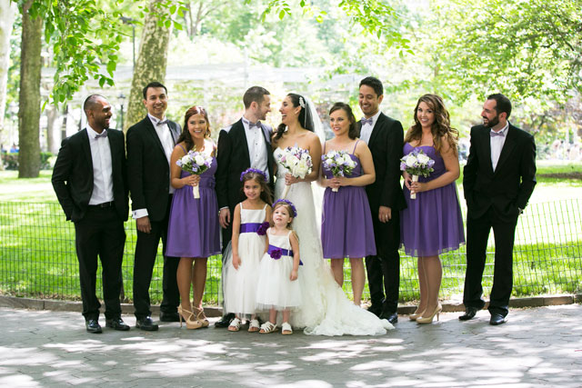 An urban summer NYC rooftop wedding with handmade purple details | Priyanca Rao Photography: http://priyanca.com