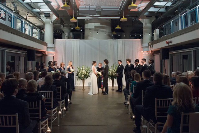A modern art center wedding with a palette of cream, navy and copper by Rachael Foster Photography