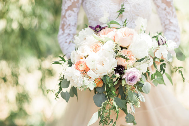 A beautiful blush summer tent wedding in Ontario by Rosenlee Photography