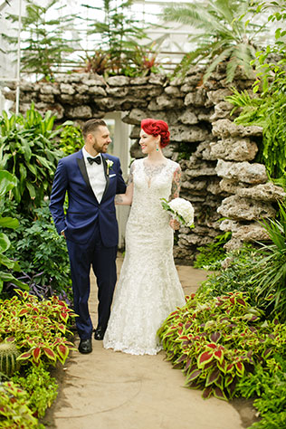 An intimate and offbeat emerald wedding with a dress that shows off the bride's tattoos by Sabrina Nohling Photography