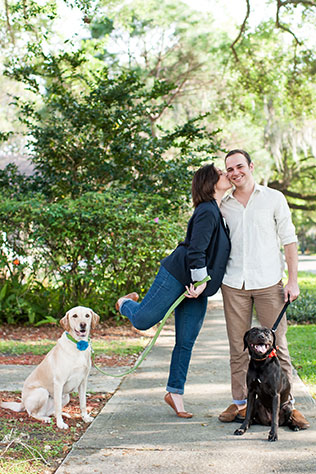 An adorable hometown engagement session with the couple's dogs in Lakeland // photo by Sarah & Ben: http://www.sarahben.com || see more on https://blog.nearlynewlywed.com