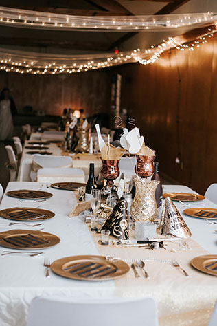 A DIY New Year's Eve wedding in Maine with tons of handmade details and a moonshine bar by Sarah French Photography