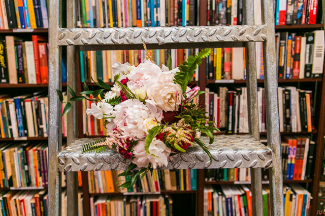 A hip bookstore wedding in SoHo with vintage flair | Sarah Tew Photography: http://www.sarahtewphotography.com