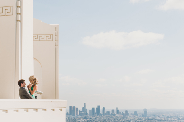 A L.A. engagement session in three parts at The Huntley Hotel, El Matador Beach and Griffith Observatory // photos by Shelly Anderson Photography: http://shellyandersonphotography.com || see more on https://blog.nearlynewlywed.com