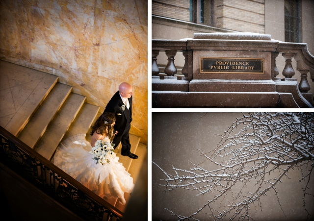 A romantic, intimate wedding in the middle of a snow storm by Snap! Weddings || see more on blog.nearlynewlywed.com