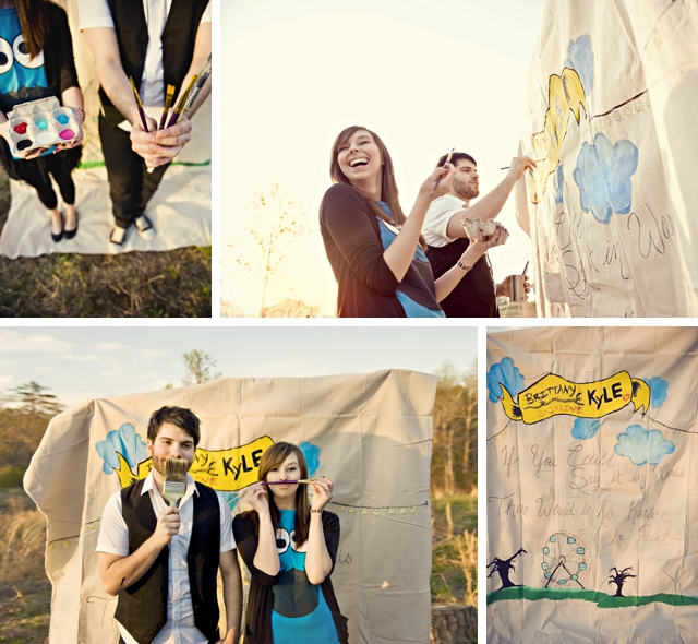 An artistic and paint-spattered e-shoot by sassyfras studios || see more on blog.nearlynewlywed.com
