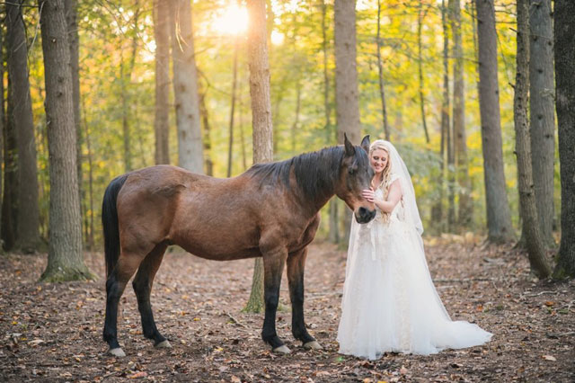 A truly enchanted forest wedding in Virginia with a romantic palette of mulberry and gold by Stephanie Messick