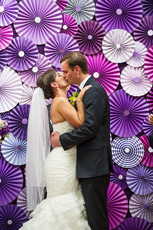 A chic urban wedding in an open industrial loft space with tons of DIY purple details // photos by Stewart-Hunter Photography: http://www.stewarthunterphotography.com || see more on https://blog.nearlynewlywed.com