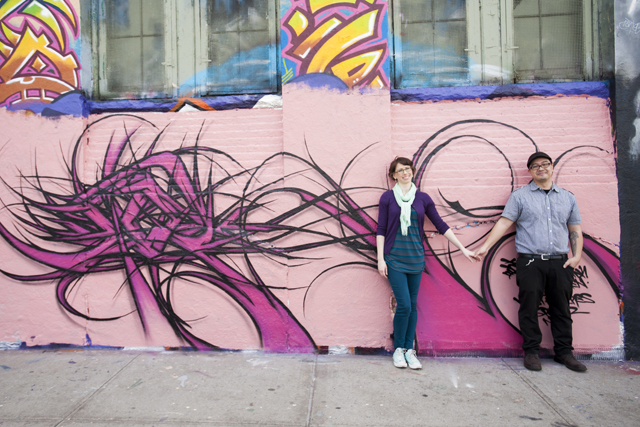 A graffiti-themed engagement session for artists at 5 Pointz // photos by Studio A Images: http://www.studioAimages.com || see more on https://blog.nearlynewlywed.com