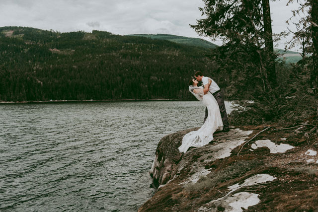 A lake wedding in British Columbia on an overcast day with tons of rustic DIY details by Tailored Fit Photography