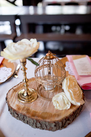 A rustic blush and gold wedding with paper flowers and brooch bouquets and DIY details by The Cannons Photography