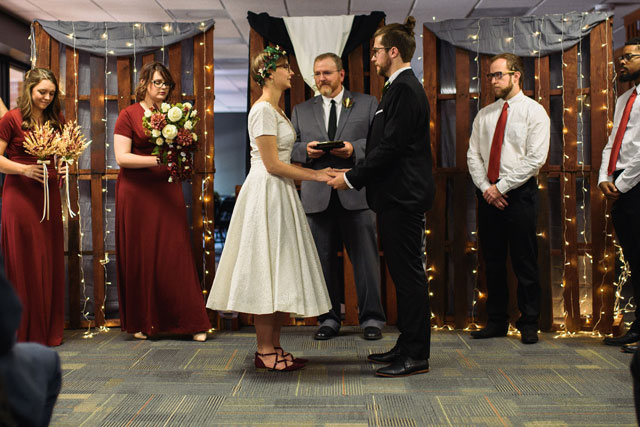 A handmade vintage wedding on a budget in Wake Forest including a handmade wedding dress passed down through the generations by Three Region Photography