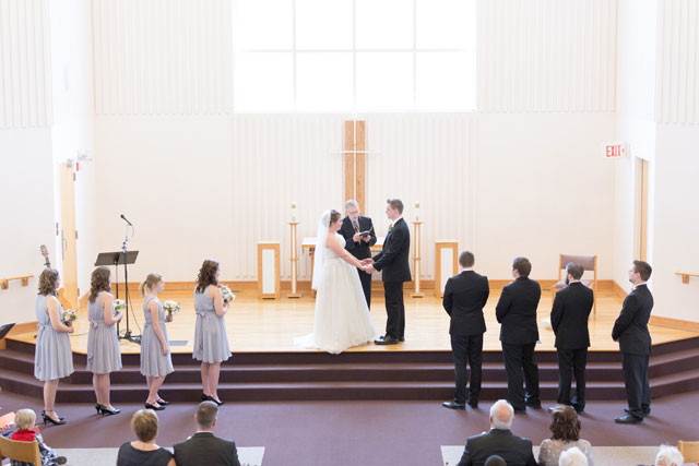 Winter gracefully transforms into spring in this whimsical pastel church wedding | True Grace Photography: http://truegracephotography.com