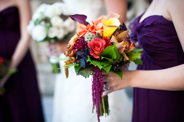 A romantic garden wedding at the Biltmore Estate with beautiful flowers and rich autumn jewel tones // photos by Two Ring Studios: http://tworingstudios.com    see more at: https://blog.nearlynewlywed.com/real-couples/weddings/romantic-garden-wedding-rich-autumn-jewel-tones/
