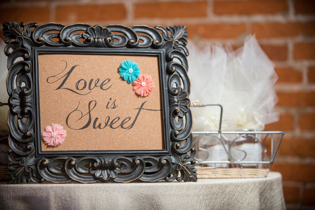 A Cork Factory wedding with rustic, handmade wooden details // photo by Two Sticks Studios: http://twosticksstudios.com    see more on https://blog.nearlynewlywed.com