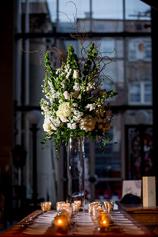A creative winter wedding in Chicago amongst salvaged furniture and architectural remnants | Victoria Sprung Photography: http://www.sprungphoto.com