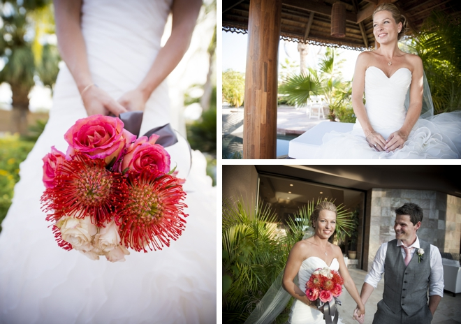 Gorgeous bouquet for a Palm Springs poolside wedding by Viera Photographics