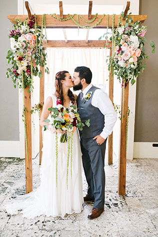 A creative and artistic wedding at Coral Gables Museum with pop culture references and bohemian style by White Palm Studios